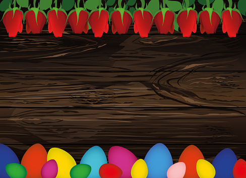 Painted Easter Eggs With A Pattern Beautiful Red Flowers Roses Empty Place For Your Ad Message Or Message Greeting Card Free Place Vector On Wooden Background Stock Illustration - Download Image Now