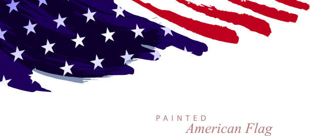 painted flag - american flag stock illustrations