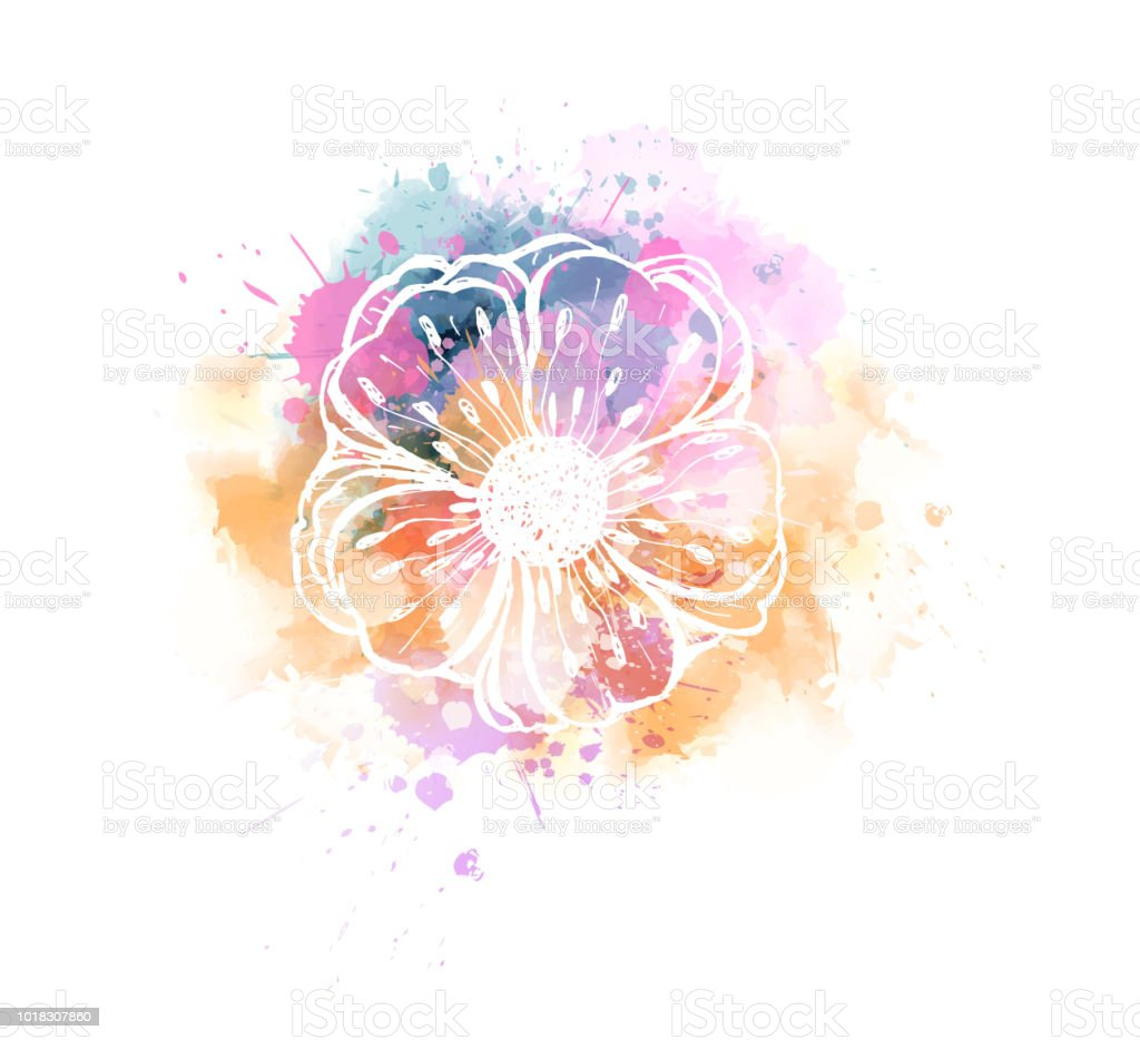 Multicolored watercolor imitation splash blot in yellow and pink...