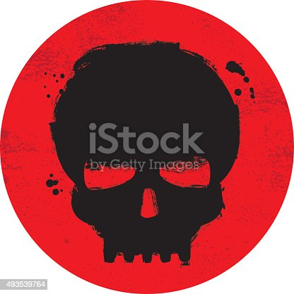 Painted grunge skull symbol on red background