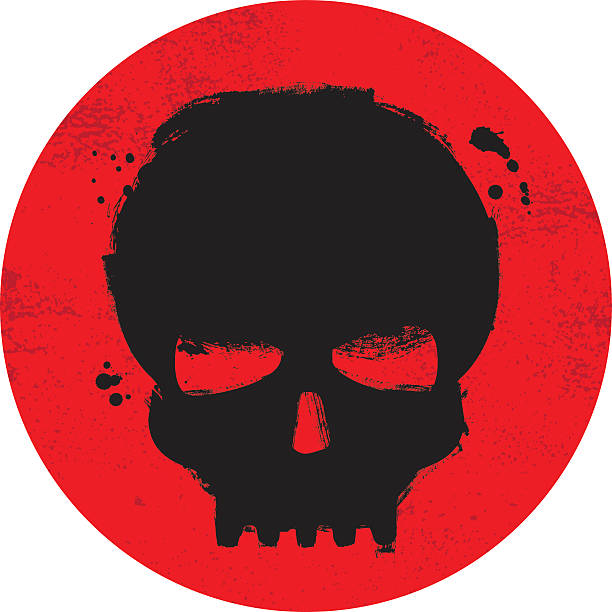 Painted grunge skull symbol on red background vector art illustration
