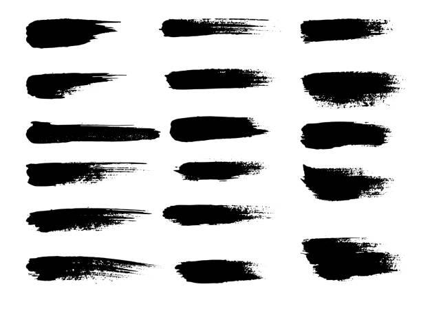 окрашенные гранж полосы набор. черные этикетки, фон, текстура краски. вектор ударов кистью. элементы дизайна ручной работы - краска stock illustrations