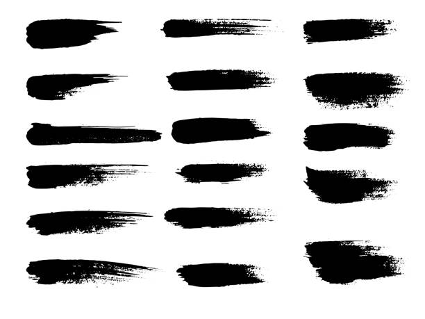 painted grunge stripes set. black labels, background, paint texture. brush strokes vector. handmade design elements - farba stock illustrations