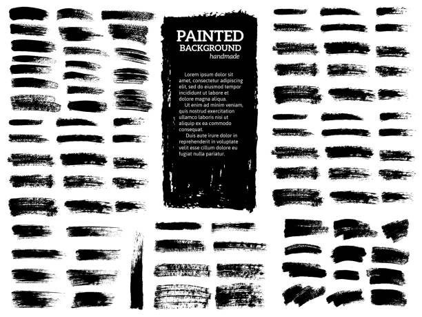 ilustraciones, imágenes clip art, dibujos animados e iconos de stock de conjunto de rayas grunge pintadas. etiquetas negras, fondo, textura de pintura. pincel trazos vectoriales. elementos de diseño hechos a mano. vector - brush stroke