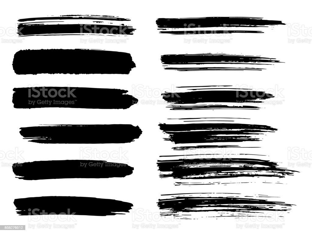Painted grunge stripes set. Black labels, background, paint texture. Brush strokes vector. Handmade design elements. vector art illustration
