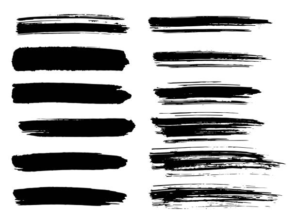 ilustraciones, imágenes clip art, dibujos animados e iconos de stock de conjunto de rayas pintadas grunge. etiquetas negro, fondo, pintan textura. vector de trazos de pincel. elementos de diseño hechos a mano. - brush stroke