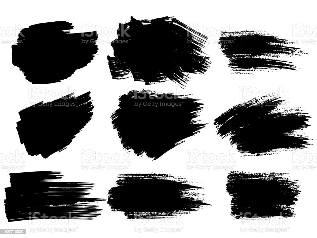 Painted grunge stripes set. Black labels, background, paint texture. Brush strokes vector. Handmade design elements. royalty-free painted grunge stripes set black labels background paint texture brush strokes vector handmade design elements stock illustration - download image now