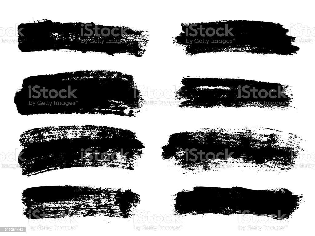 Painted grunge stripes set. Black labels, background, paint texture. Brush strokes vector. Handmade design elements vector art illustration