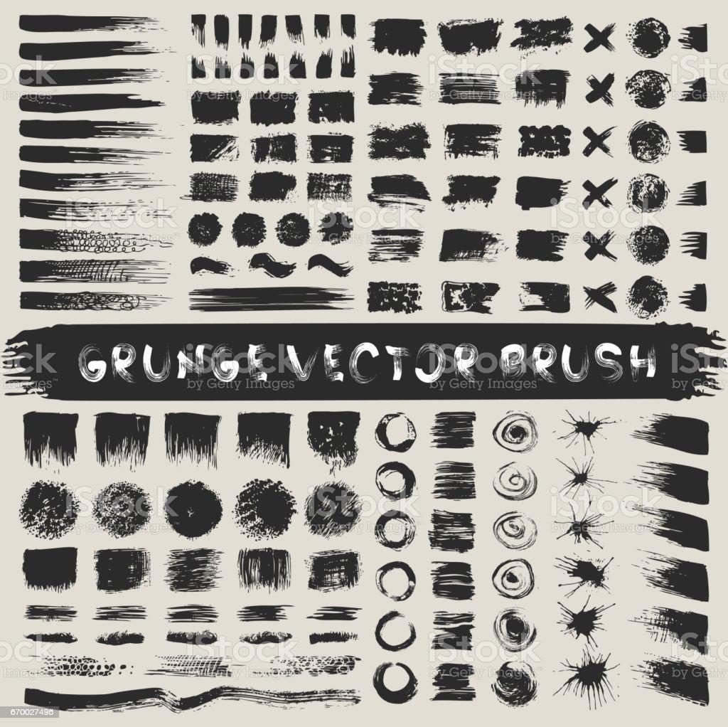 Bemalte Grunge-Streifen-Set. Schwarzen Sie Etiketten, malen Sie Textur zu. Brush Strokes Vektor. Hintergrund-handgefertigte Design-Elemente. – Vektorgrafik