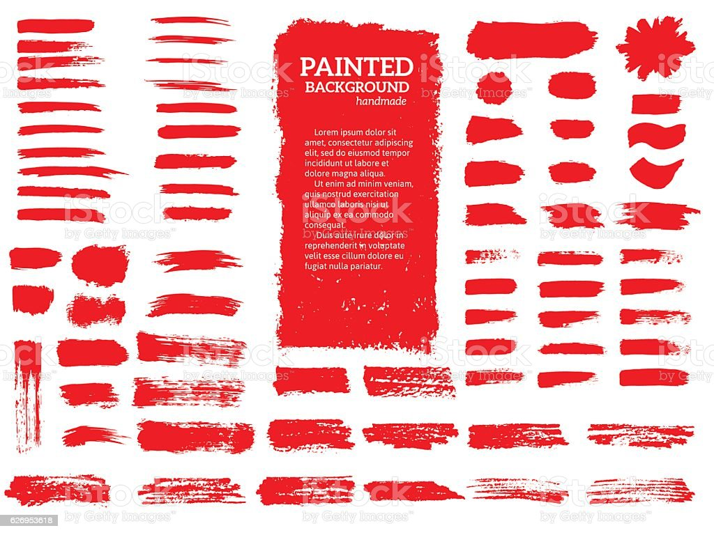 Painted grunge stripes set. vector art illustration