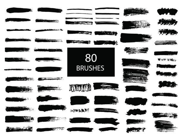 ilustraciones, imágenes clip art, dibujos animados e iconos de stock de pintado grunge conjunto de rayas. - brush stroke