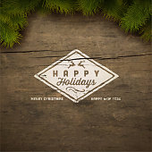 Painted holiday typography and Christmas fir tree