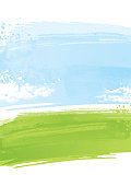 Textured painted green field painting background