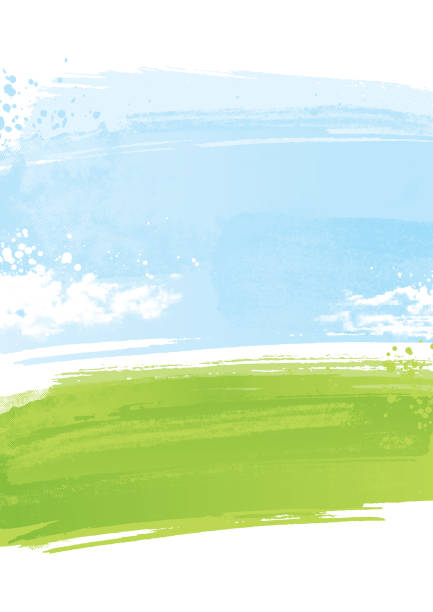 Painted landscape background Textured painted green field painting background blue background illustrations stock illustrations
