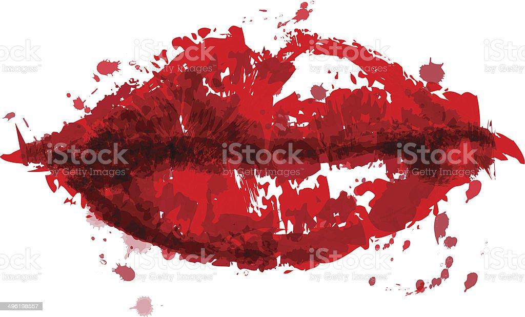 Painted Lips vector art illustration