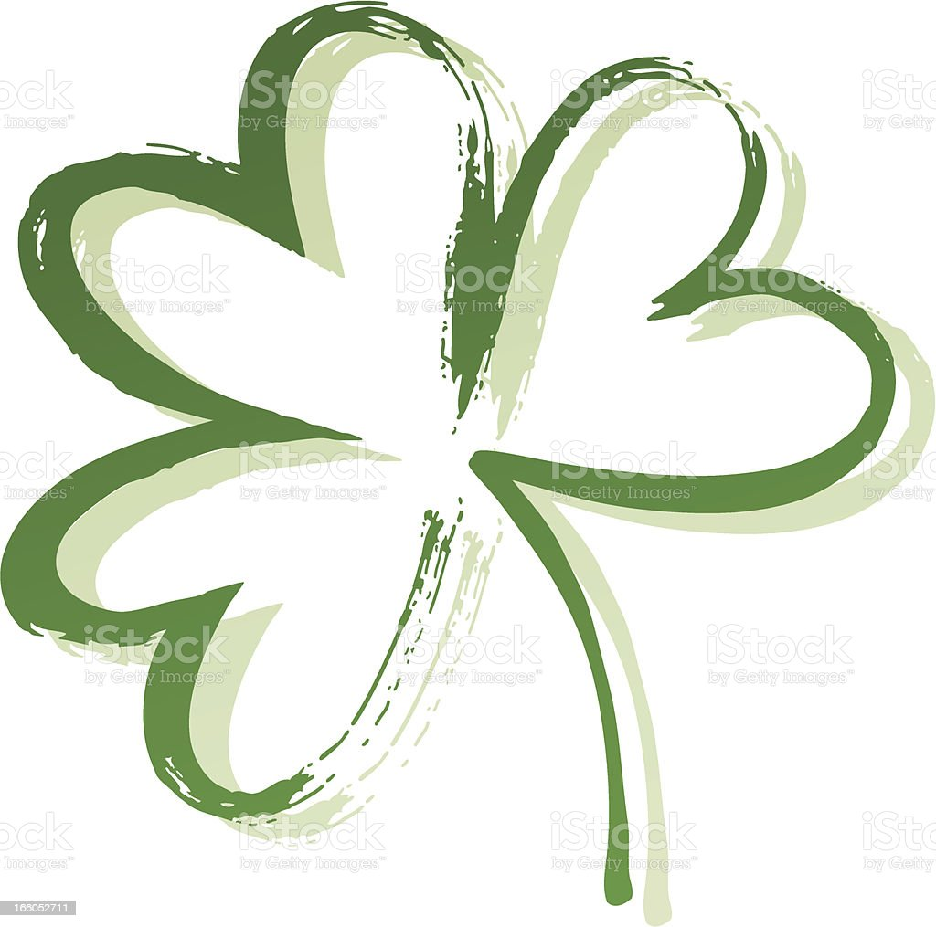 A painted outline of shamrock with three leaves vector art illustration