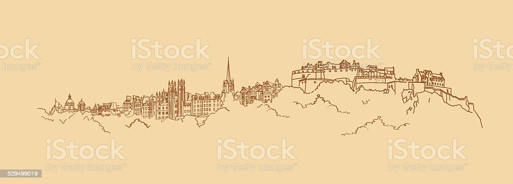 Painted panorama of the historic part of Edinburgh vector art illustration