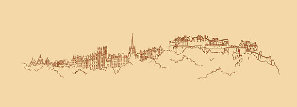 Painted panorama of the historic part of Edinburgh Drawing - sketch in beige and brown colors with a view of the historic part of Edinburgh. Sketch combined from different parts of the city. It portrays a fortress on Castle rock, building of the University and other attractions of the capital of Scotland. Figure and background in different layers it allows to make them any color. alba stock illustrations