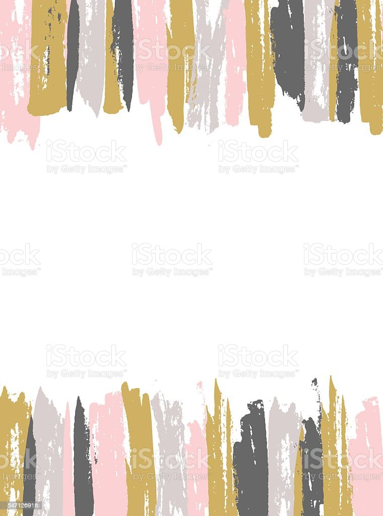 Painted Pink and Gold Striped Background. vector art illustration