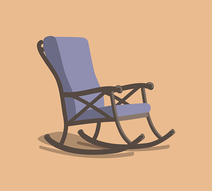 painted purple rocking chair with brown body with shadow on orange background