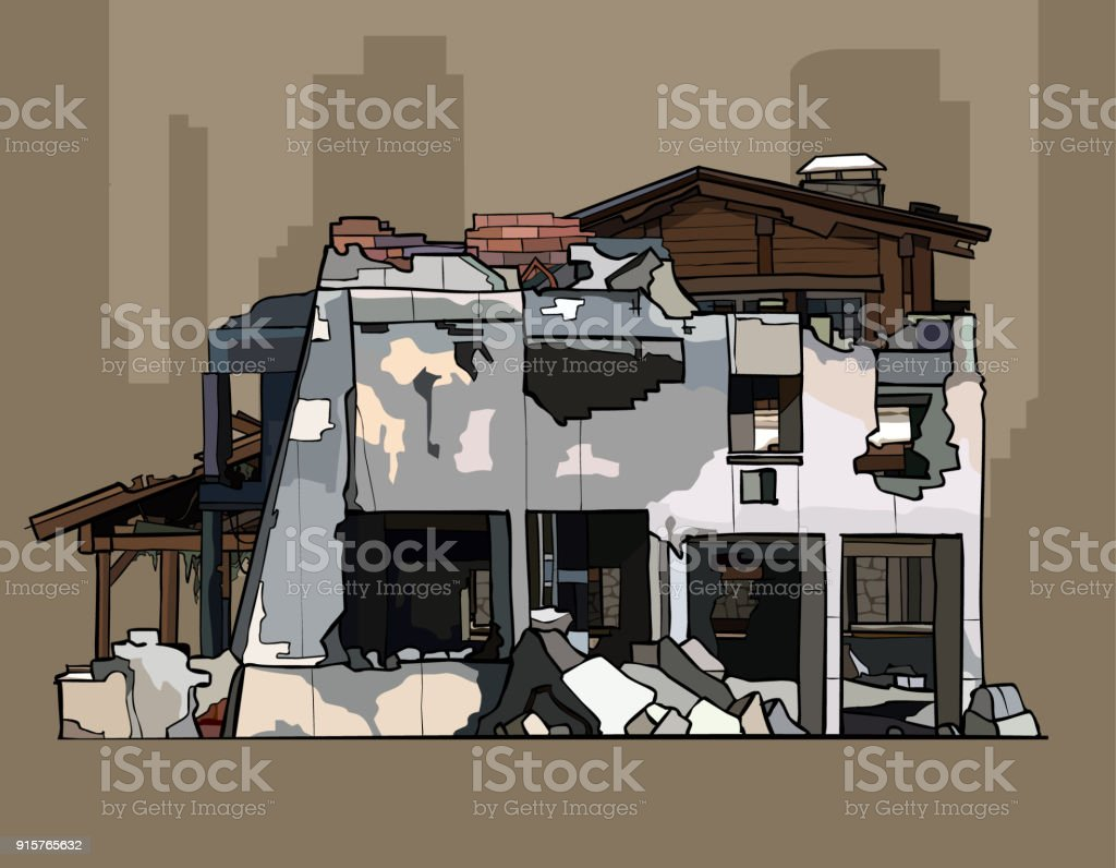 painted ruins of brick whitewashed building vector art illustration