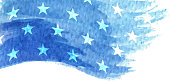 american flag stars blue watercolor painted background