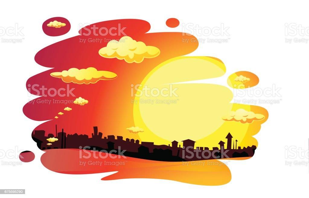 painted sunset city  landscape - vector illustration painted sunset city landscape vector illustration – cliparts vectoriels et plus d'images de brillant libre de droits