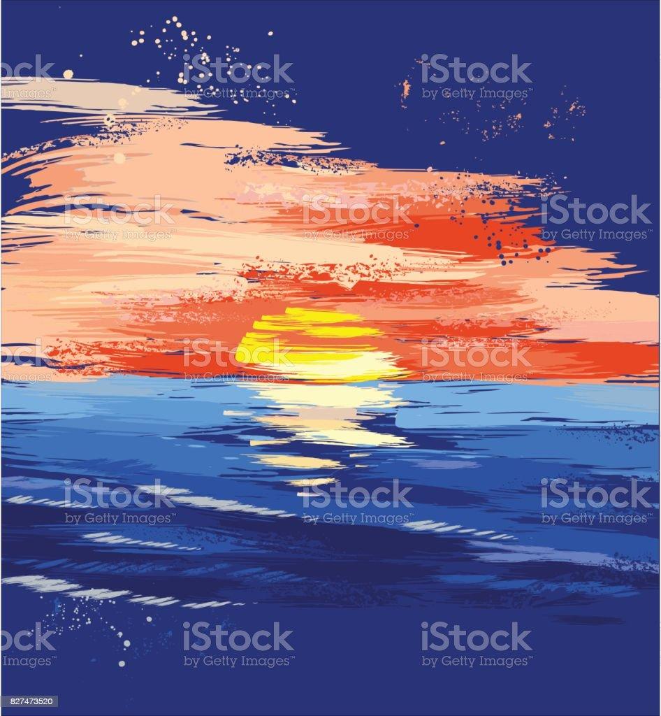 painted sunset on the sea vector art illustration