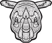 National ethnic pattern with the head of a Rhinoceros. Element for your design, cards, bags, coloring books for adults, t-shirts, tattoo. Line art design. Zendoodle