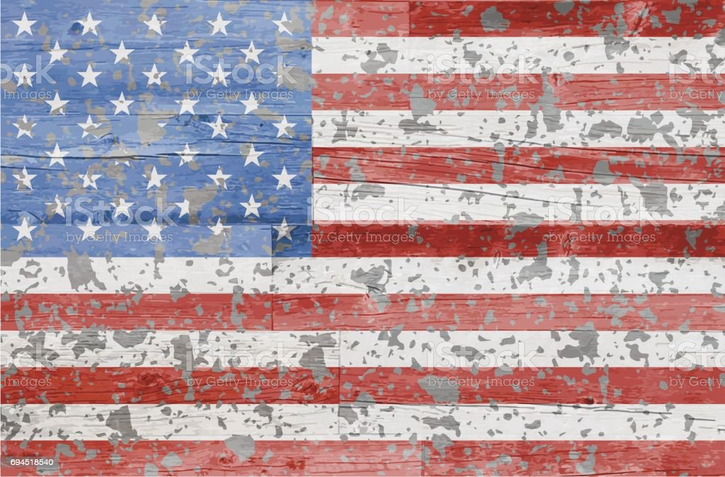 Painted US Flag on Barn Wood vector art illustration