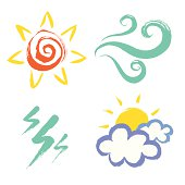 A set of hand drawn weather icons. Zip contains AI CS2, PDf and Jpef File.