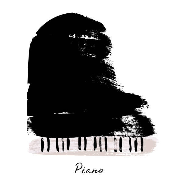 painted with brush strokes piano. vector illustration. - pianino instrument klawiszowy stock illustrations