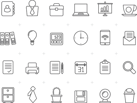 Painted with Lines Business and office icons