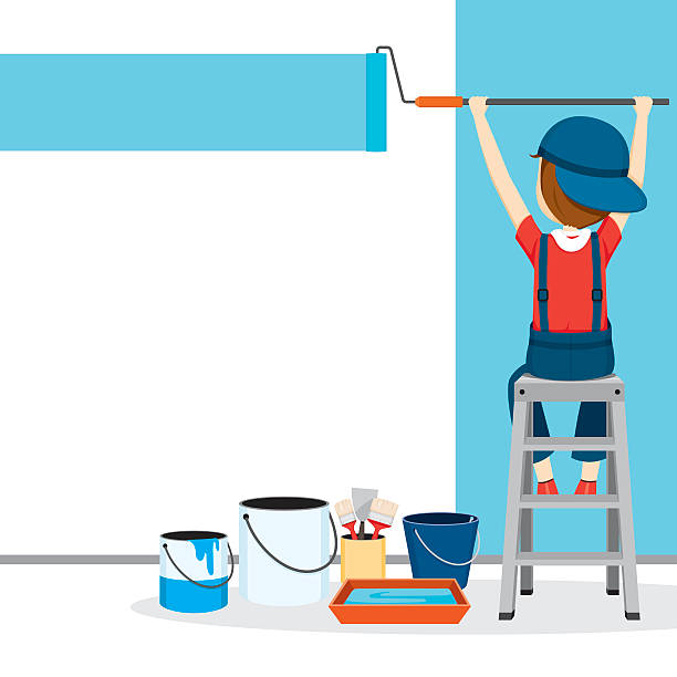 Painter Coloring Wall By Paint Roller, People Occupations Profession, Worker, Job, Duty paint can stock illustrations