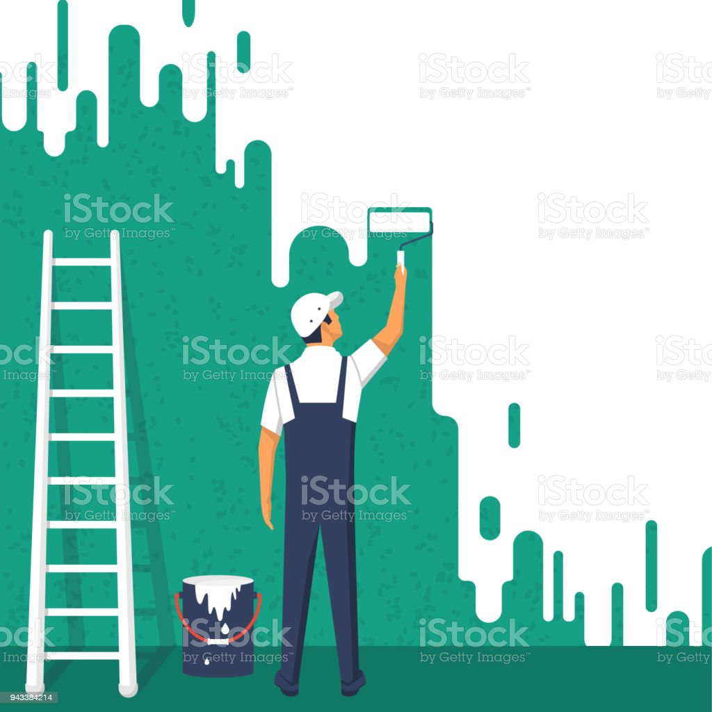 Painter colors the wall vector art illustration