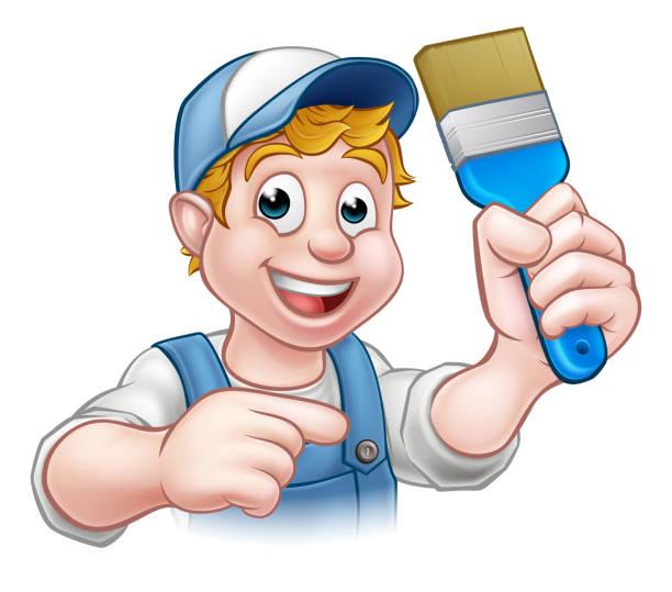 illustrations, cliparts, dessins animés et icônes de peintre décorateur bricoleur personnage de dessin animé - logo peintre en batiment