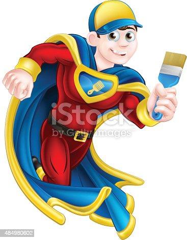 Cartoon decorator or painter superhero mascot holding a paintbrush