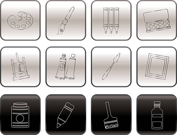 maler, zeichnen und malen-icons - filzarbeiten stock-grafiken, -clipart, -cartoons und -symbole