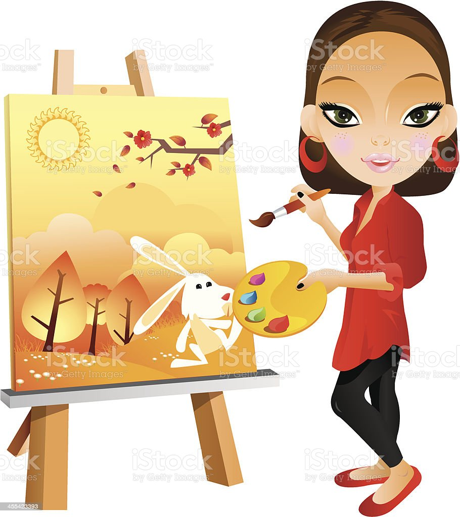 painter girl stock vector art amp more images of adult