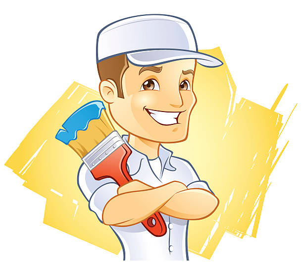Painter in Hat with Paint Brush vector art illustration