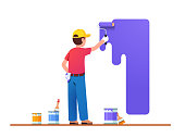 Painter man painting house wall with roller brush. Worker guy using paint-roller and paint cans. Decorator job, interior renovation service. Flat vector character illustration