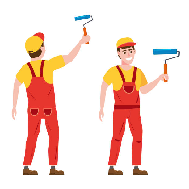 Painter man paints the wall is holding a paint roller in hand, profession, front and back view, character, uniform, bucket. Vector illustration of cartoon flat design style, isolated Painter man paints the wall is holding a paint roller in hand, profession, character, uniform, bucket house painter stock illustrations
