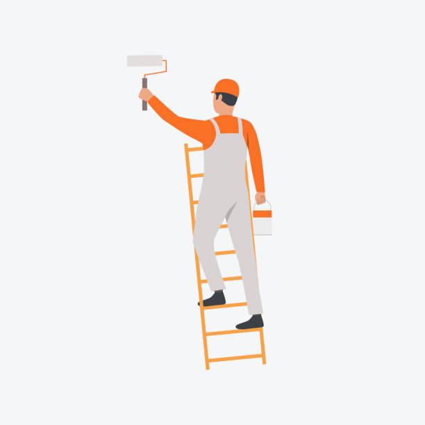 在梯子平面圖標上的畫家 - 畫畫 動態活動 幅插畫檔、美工圖案、卡通及圖標