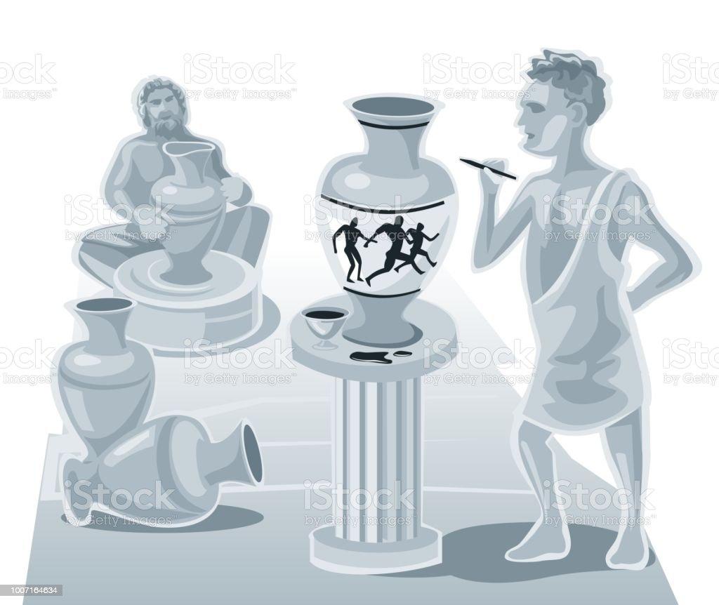 Pintor Pintura en una cazuela de barro y el alfarero hace vasijas. Ilustración plana Vector - ilustración de arte vectorial