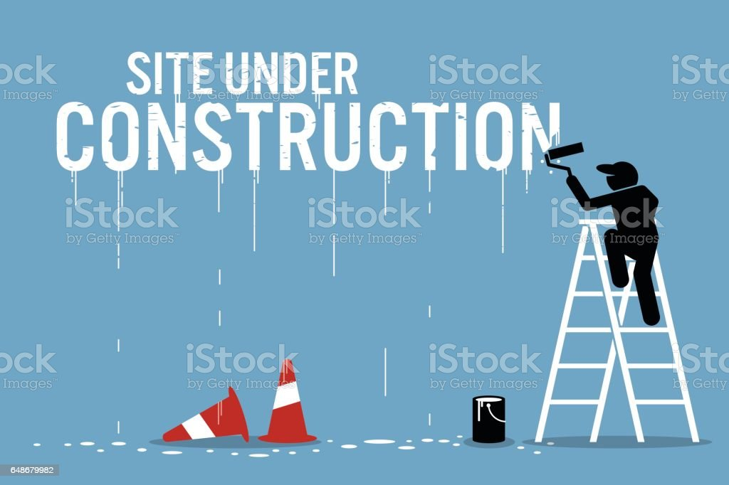 Painter painting the word site under construction on a wall. vector art illustration