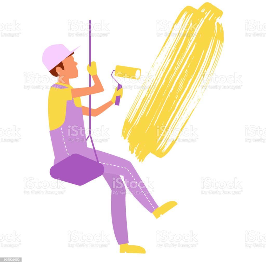 Painter paints the wall Vector royalty-free painter paints the wall vector stock vector art & more images of adult