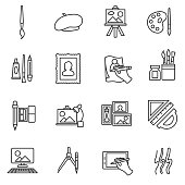painter set icons. Painting collection. thin line design