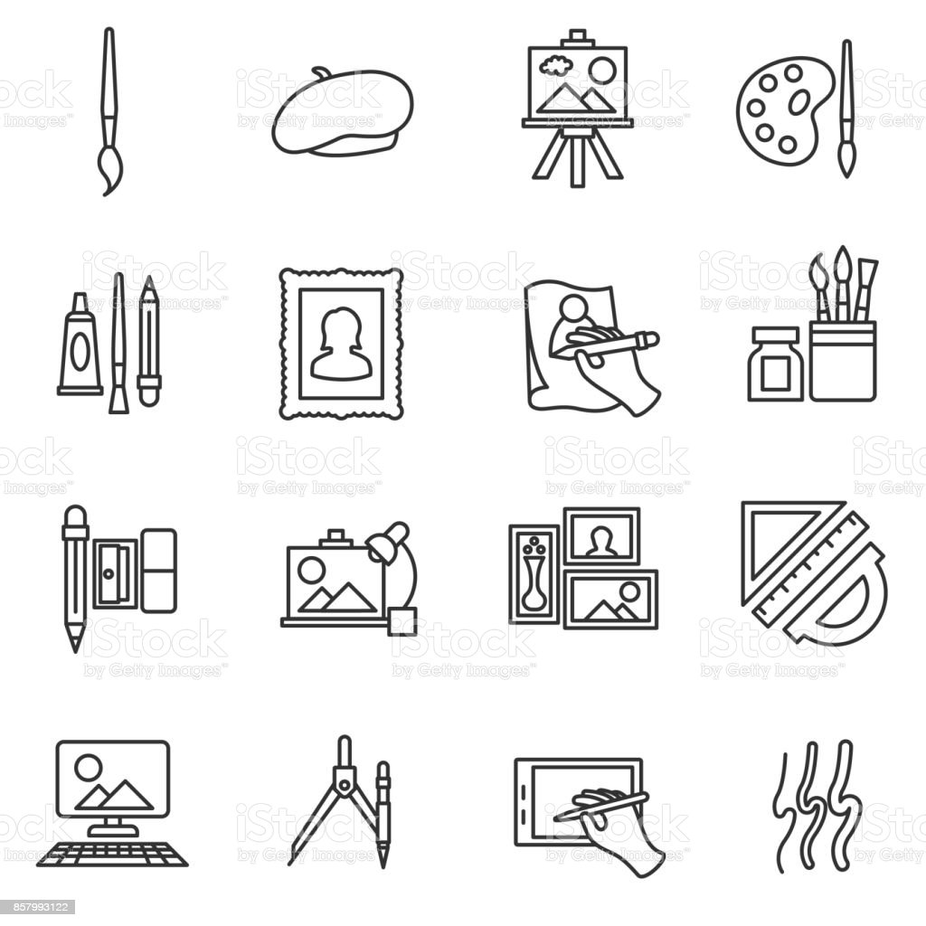 painter set icons. vector art illustration