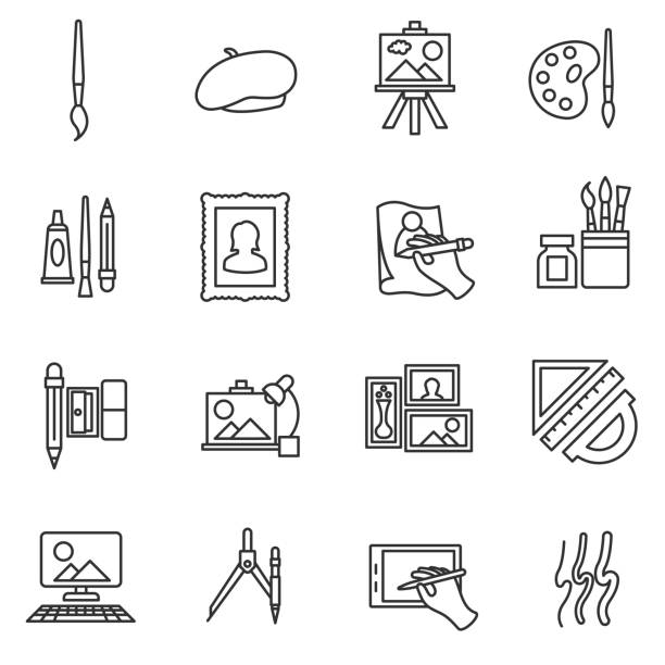 painter set icons. painter set icons. Painting collection. thin line design art stock illustrations