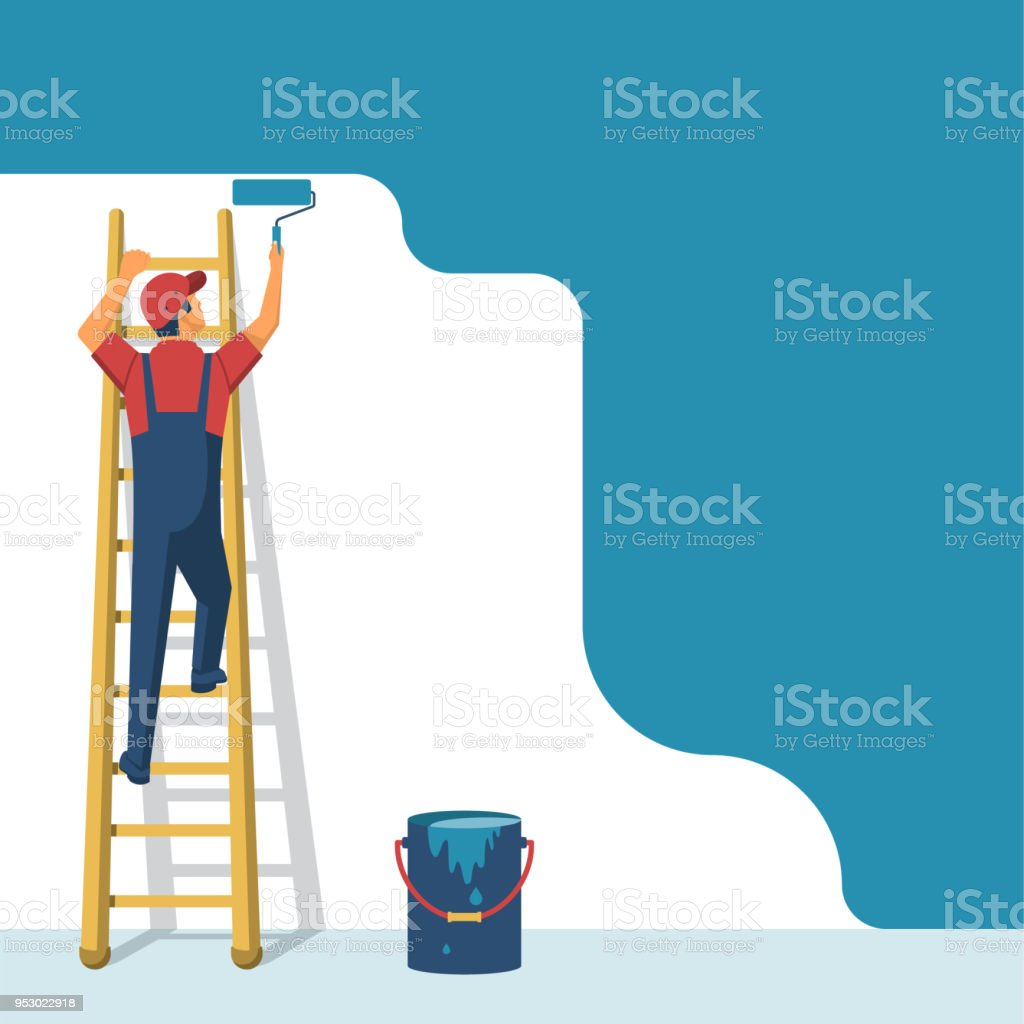 Painter standing on staircase paints the wall vector art illustration